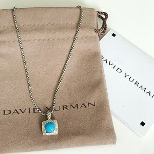 David Y 7x7mm Turquoise Diamond Necklace 18""